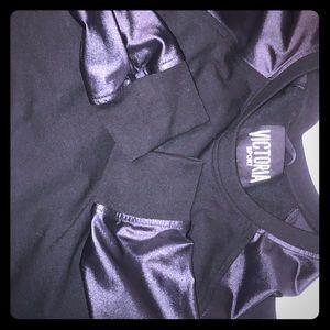 Tops - Victoria secret black leather sweat shirt